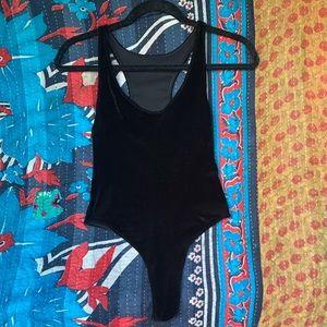 American Apparel Black Velvet Bodysuit NWOT